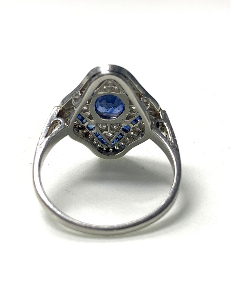 Women's Blue Sapphire and Diamond Engagement Ring in Platinum For Sale