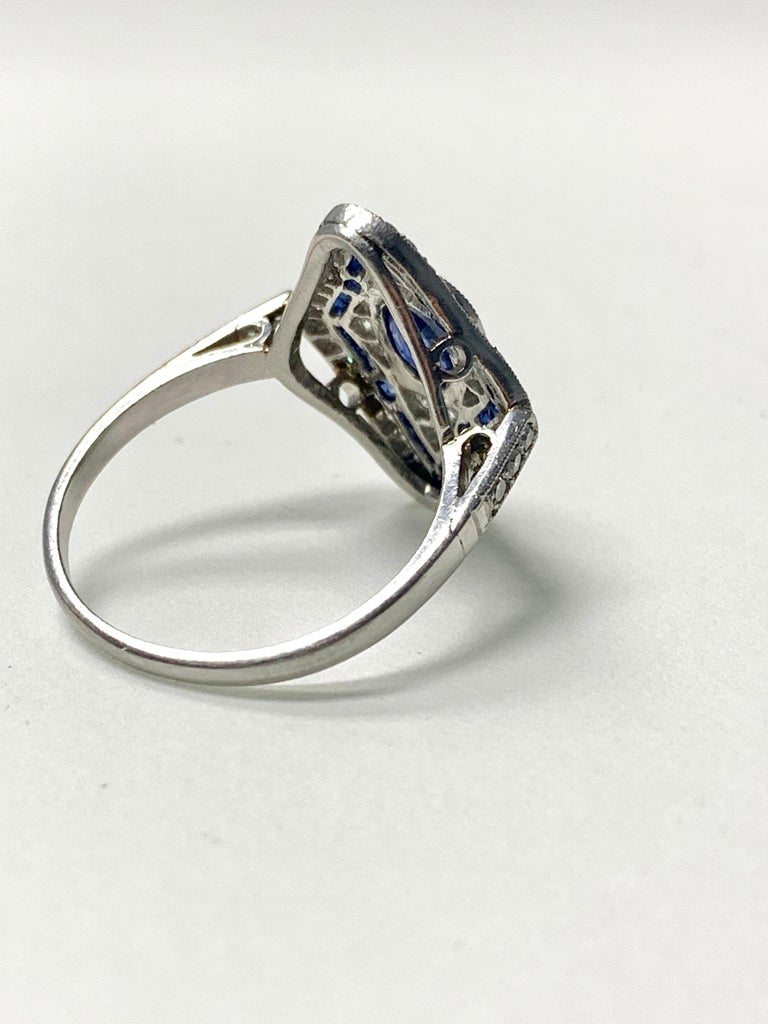 Blue Sapphire and Diamond Engagement Ring in Platinum For Sale 1