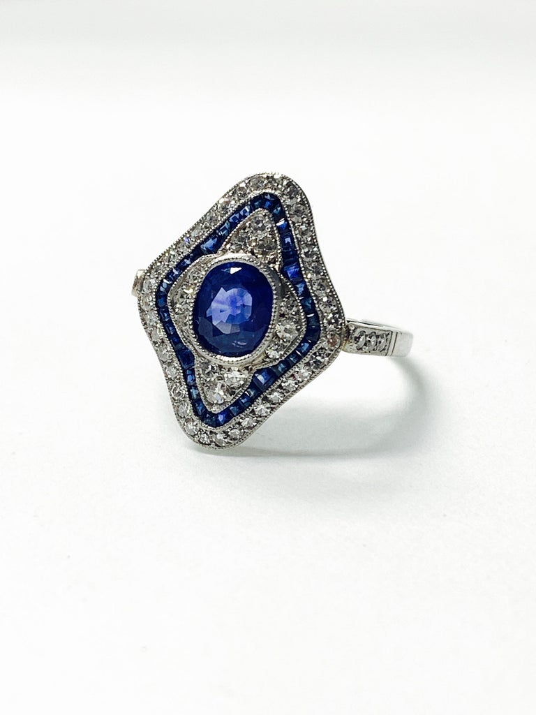 Blue Sapphire and Diamond Engagement Ring in Platinum For Sale 2