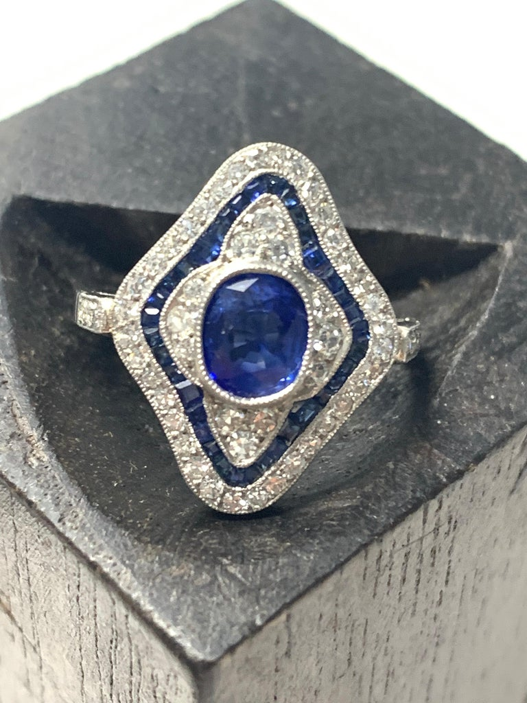 Blue Sapphire and Diamond Engagement Ring in Platinum For Sale 3