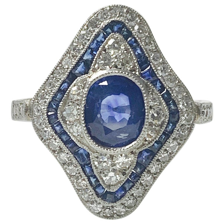 Blue Sapphire and Diamond Engagement Ring in Platinum For Sale