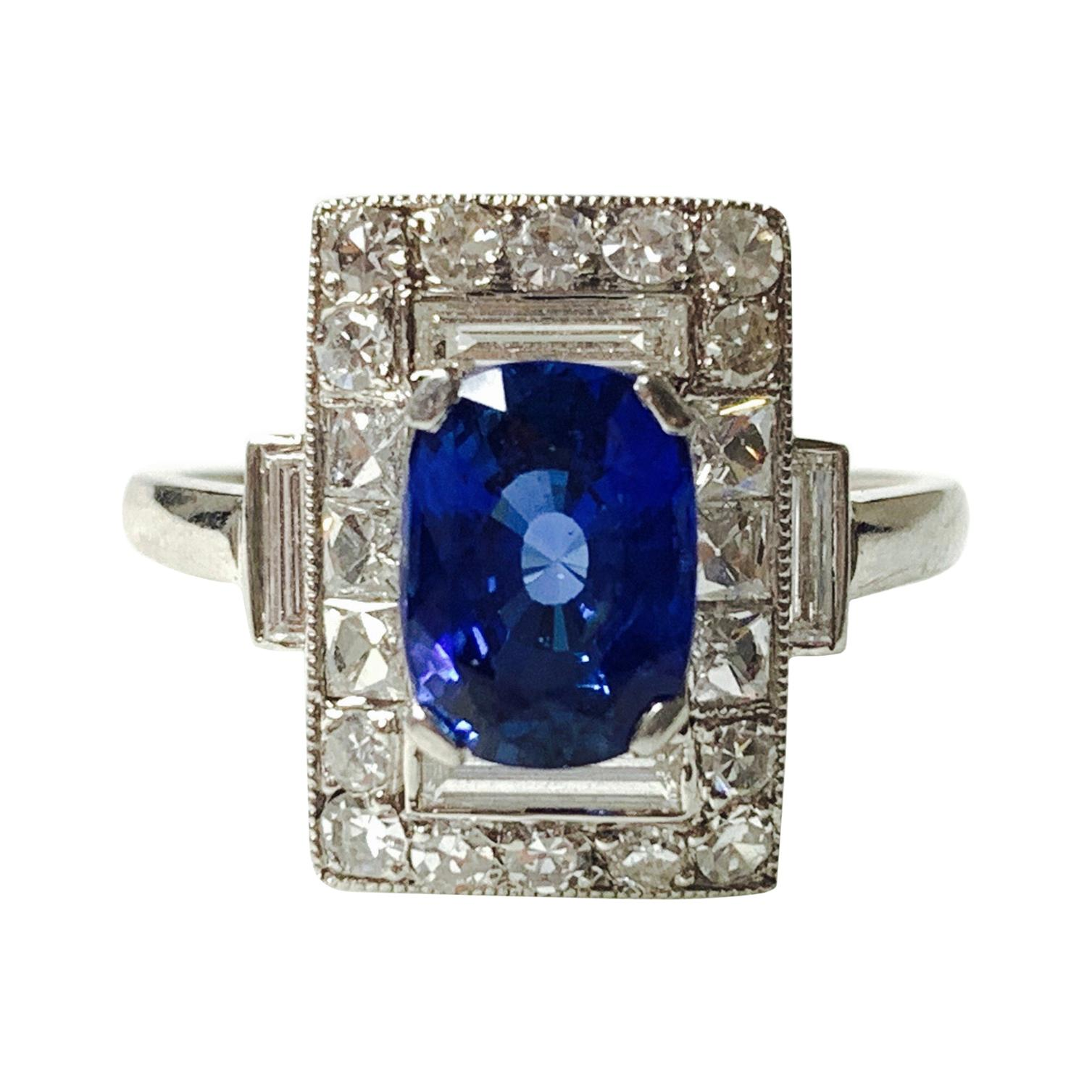 Blue Sapphire and Diamond Engagement Ring in Platinum