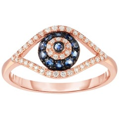 Blue Sapphire and Diamond Evil Eye  Band / Ring, Rose  Gold, Ben Dannie
