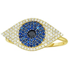 Blue Sapphire and Diamond Evil Eye Band / Ring, Yellow Gold, Ben Dannie