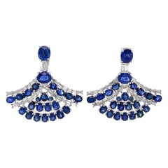 Blue Sapphire and Diamond Fan Earrings