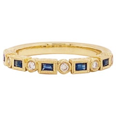 Blue Sapphire and Diamond Fashion Band Bezel Stackable Band 14 Karat Yellow Gold