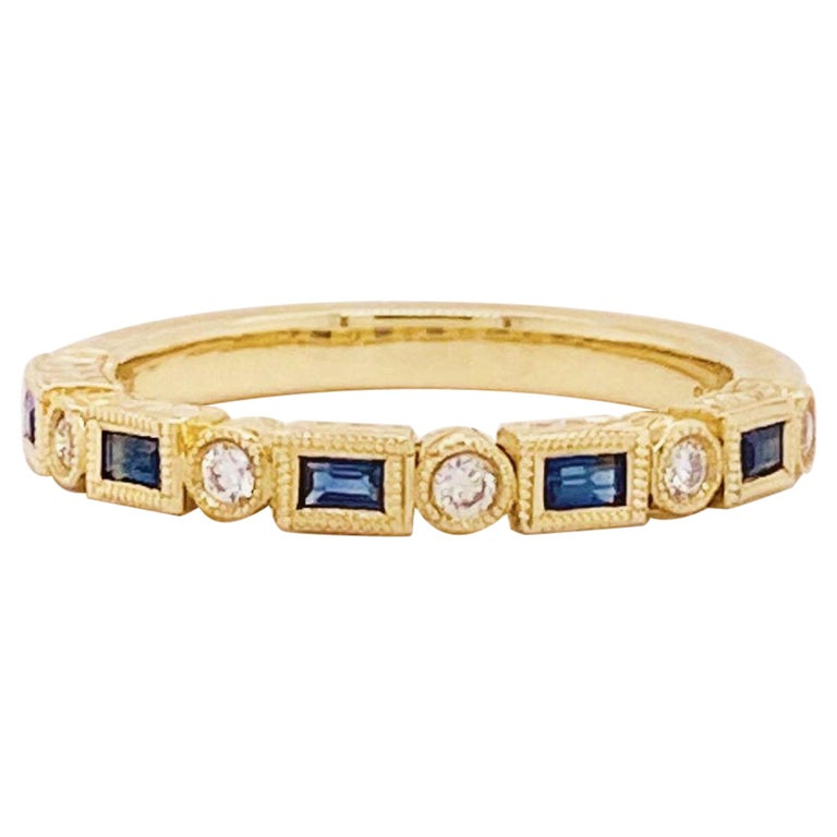Blue Sapphire and Diamond Fashion Band Bezel Stackable Band 14 Karat Yellow Gold For Sale