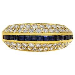 Blue Sapphire and Diamond Fashion Dome Ring