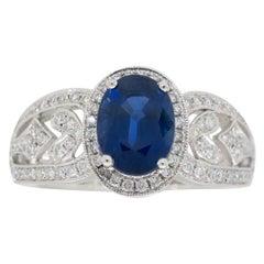 Blue Sapphire and Diamond Filagree Ring