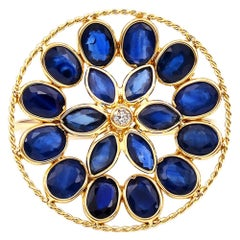 Blue Sapphire and Diamond Floral Ring, 18K Yellow Gold