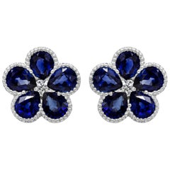 Blue Sapphire and Diamond Flower Stud Earrings
