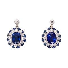 Blue Sapphire and Diamond Gold Drop Earrings Estate Fine Jewelry