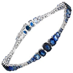 Blue Sapphire and Diamond Gradient Bracelet