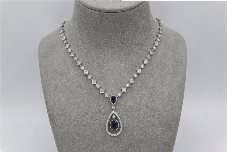 Blue Sapphire and Diamond Halo Drop Necklace In New Condition For Sale In New York, NY