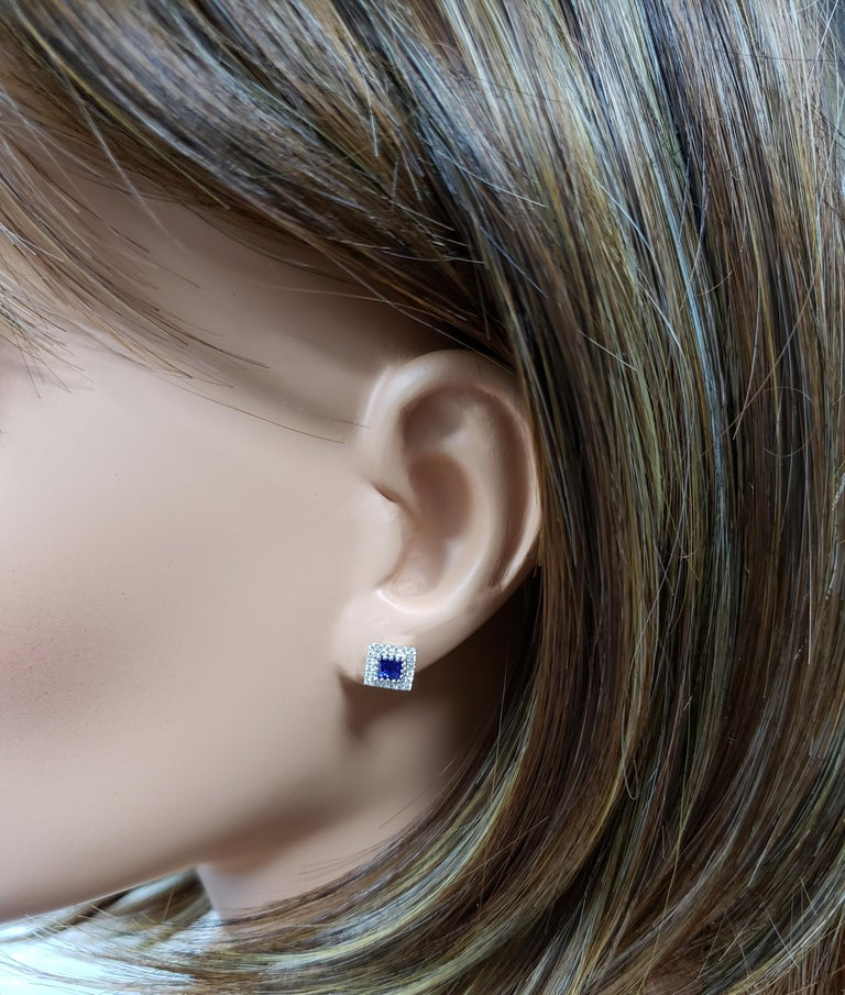 Radiant Cut Blue Sapphire and Diamond Halo Stud Earrings For Sale