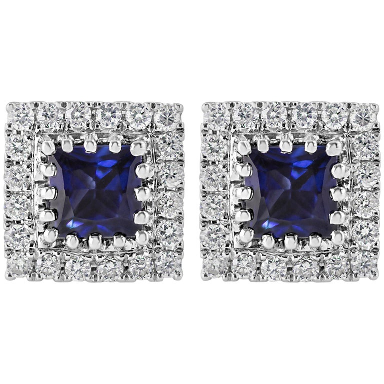 Blue Sapphire and Diamond Halo Stud Earrings For Sale