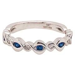 Blue Sapphire and Diamond Infinity Band 14 Karat Gold 0.20 Carat '1/5 Carat'