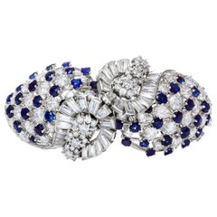 Blue Sapphire and Diamond Open-Work Bracelet / Brooch