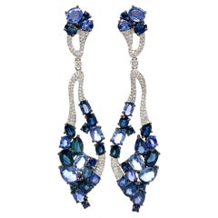 Blue Sapphire and Diamond Pavé Chandelier Earrings