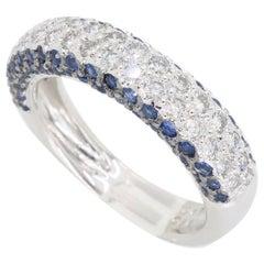 Blue Sapphire and Diamond Pavé Set Band