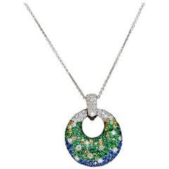 Blue Sapphire and Diamond Pendant Necklace