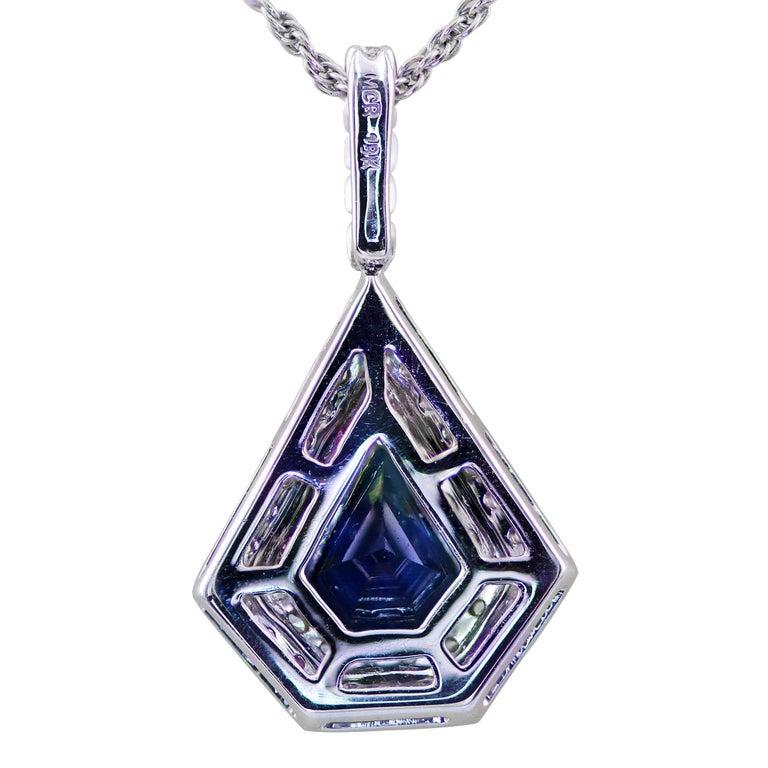 Modern Blue Sapphire and Diamond Pendant Set in 18 Karat For Sale