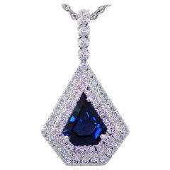 Blue Sapphire and Diamond Pendant Set in 18 Karat