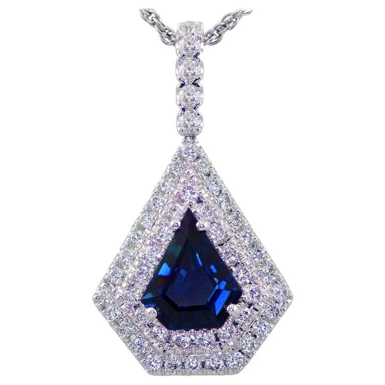 Blue Sapphire and Diamond Pendant Set in 18 Karat For Sale