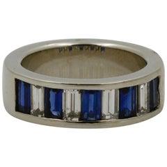 Blue Sapphire and Diamond Platinum Band