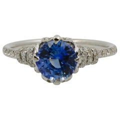 Blue Sapphire and Diamond Platinum Couture Ring