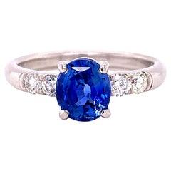 Blue Sapphire and Diamond Platinum Ring