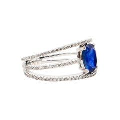 Blue Sapphire and Diamond Ring, Beautiful 3 Rows Design, Unique and Elegant