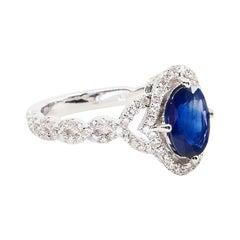 Blue Sapphire and Diamond Ring, Beautiful Twist Design, Unique and Elegant