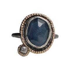 Blue Sapphire and Diamond Ring by Franny E