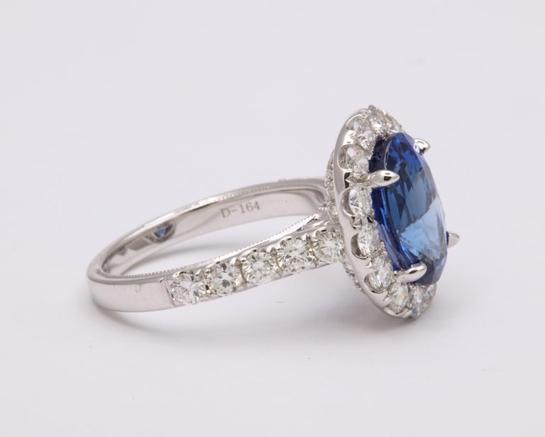 Women's or Men's Blue Sapphire and Diamond Ring For Sale