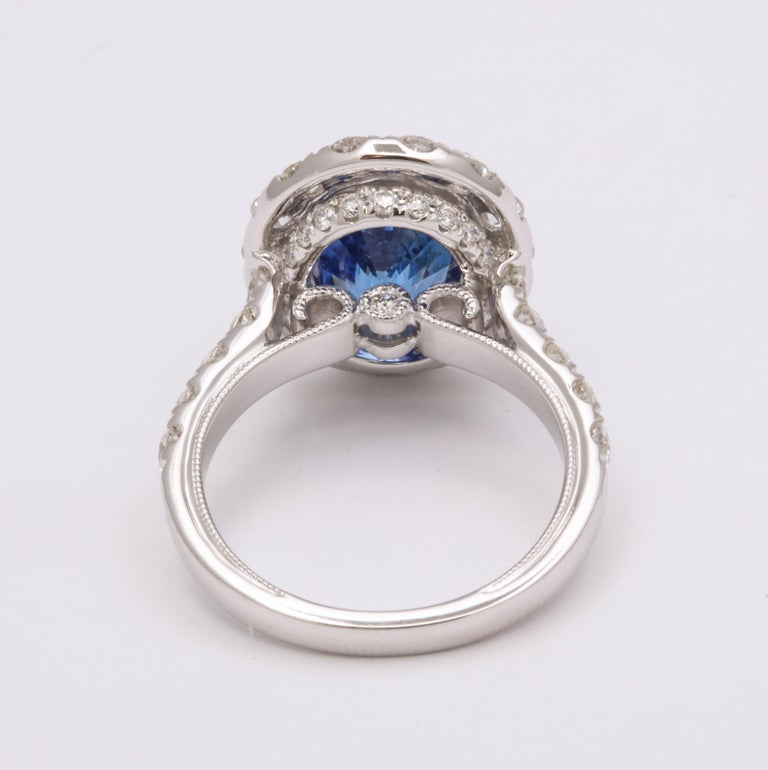 Blue Sapphire and Diamond Ring For Sale 1