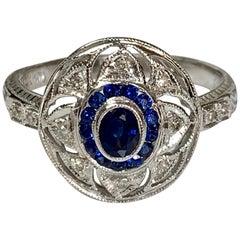 Blue Sapphire and Diamond Ring in 14 Karat White Gold