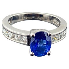 Blue Sapphire and Diamond Ring in Platinum