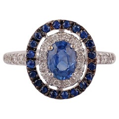 Blue Sapphire and Diamond Ring Studded in 18 Karat White Gold