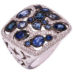 Blue Sapphire and Diamond Square Ring