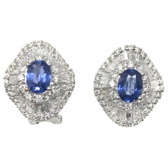 Blue Sapphire and Diamond Stud Earrings in 18 Karat White Gold