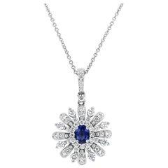 Blue Sapphire and Diamond Sunburst Pendant Necklace