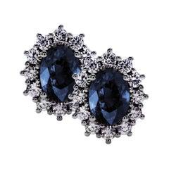 Sapphire and Diamond Sunflower Chic Stud Earrings