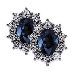 2.48 Carat Sapphire and 1.63 Ct Diamond Sunflower Grand Collection Stud Earrings