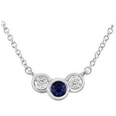 Blue Sapphire and Diamond Three-Stone Pendant Necklace