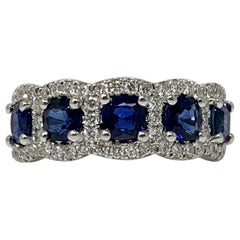 Blue Sapphire and Diamond Wedding Band in 18 Karat White Gold