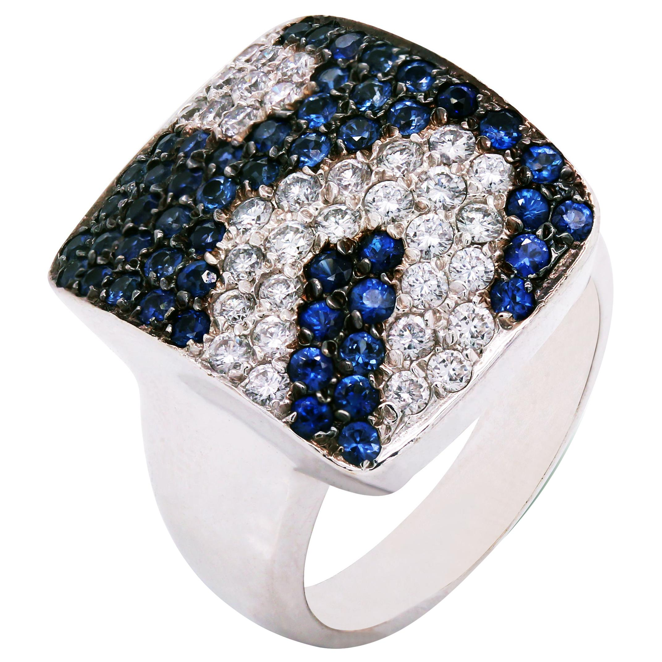 Blue Sapphire and Diamond White Gold Cocktail Ring