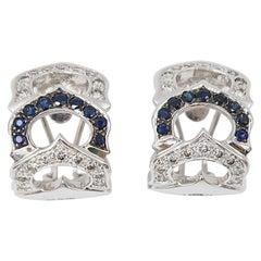 Blue Sapphire and Diamond White Gold Huggies