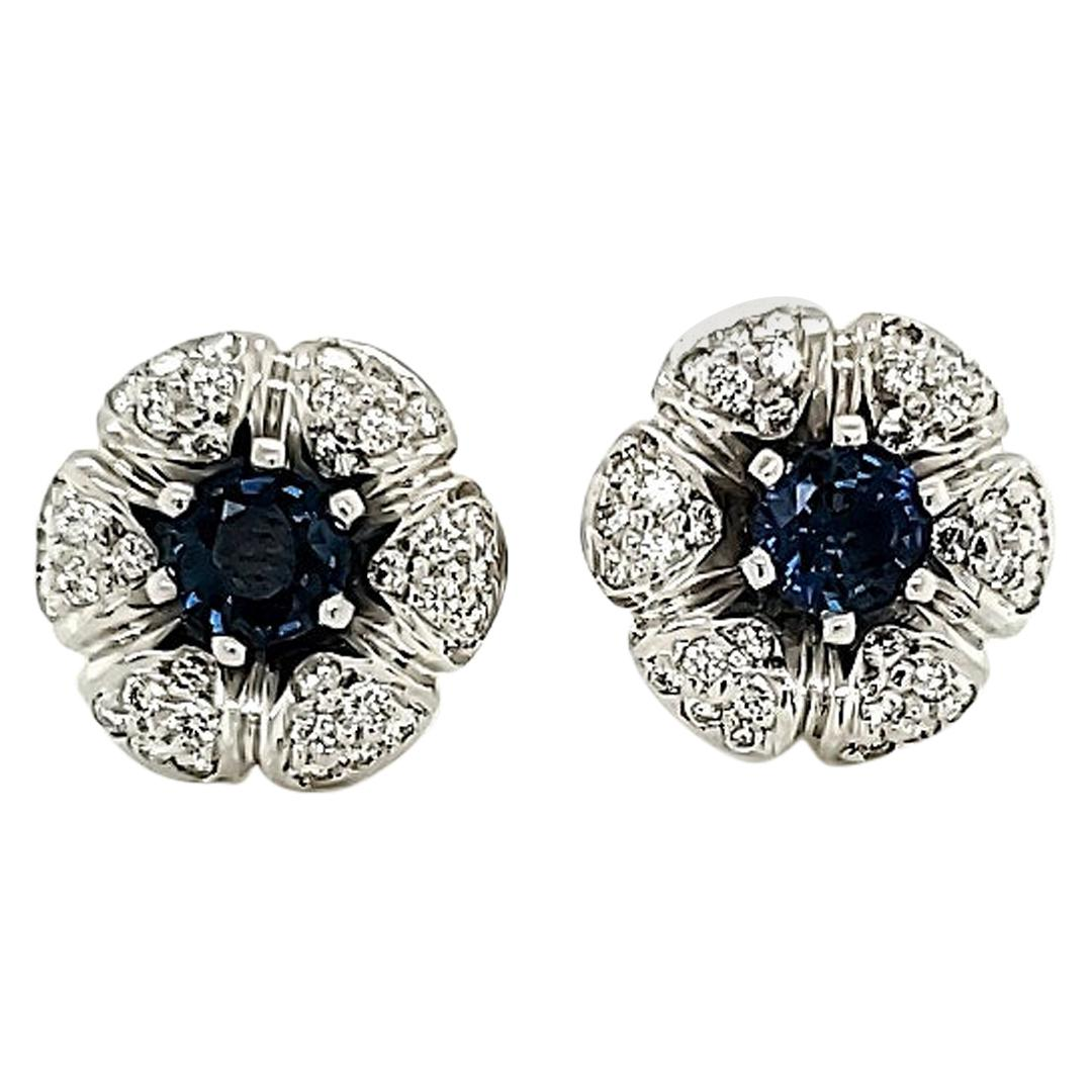 Blue Sapphire and Diamond White Gold Stud Earrings