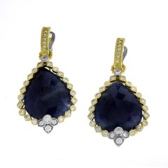 Blue Sapphire and Diamond Yellow Gold Drop Earrings Stambolian
